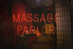 Vintage Neon Massage Parlor Sign