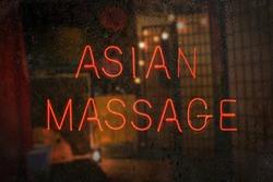 Vintage Neon Sign in Window Asian Massage
