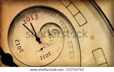 Vintage 2013 new year concept.  Infinity spiral with numbers.