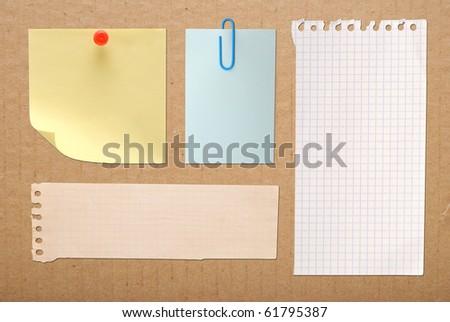 vintage notes on brown cardboard background