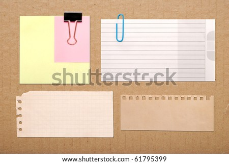 vintage notes on brown cardboard background