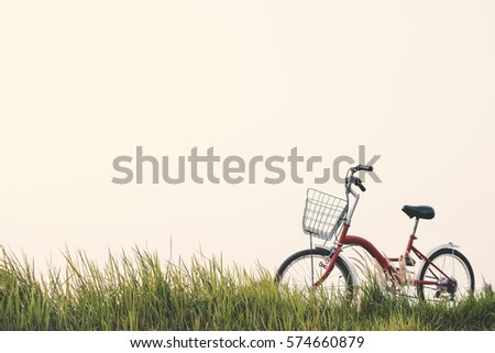 Vintage of bicycle on grass field, selective and soft focus #574660879