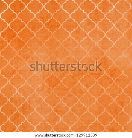 Vintage Ogee Patterned Background - Digital Paper - Orange