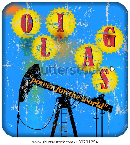 vintage oil and gas advertising sign, illustration