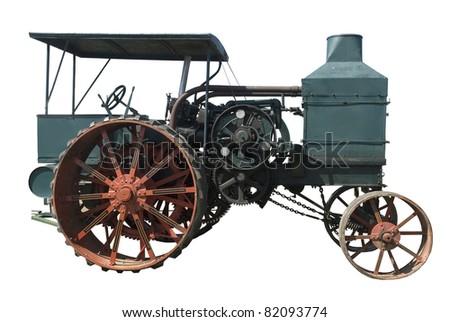 vintage oil pull tractor ran on kerosene on a white background