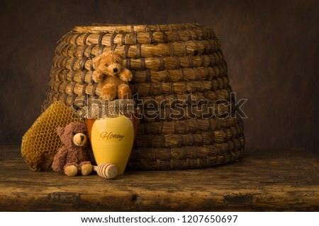 Vintage old beehive basket still life, can be used for baby composites #1207650697