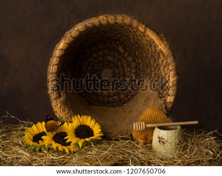 Vintage old beehive basket still life, can be used for baby composites #1207650706