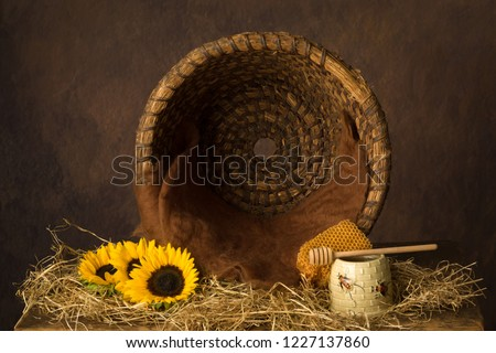 Vintage old beehive basket still life, can be used for baby composites #1227137860