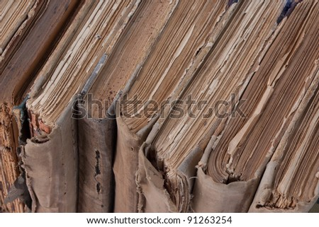 Vintage  Old books in a row - stock photo