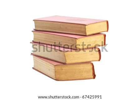 Vintage Old Books stacked on a white background