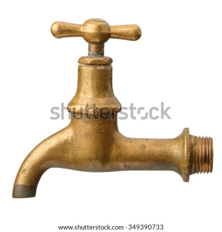 Vintage old brass water tap isolated on white background