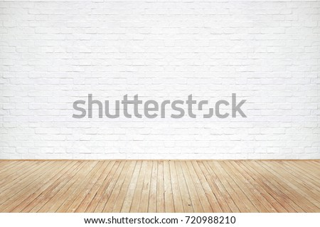 Vintage old brown wooden floor texture with white brick wall dust grime for background