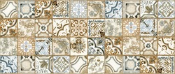 vintage old ceramic tiles wall decoration and background. azulejo decoration tile cement background