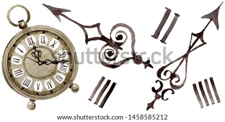 Vintage old clock pocket watch. Watercolor background illustration set. Watercolour drawing fashion aquarelle isolated. Isolated clocks illustration element. Foto stock ©