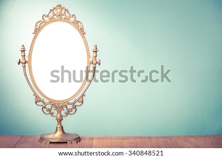 Vintage old desk mirror frame. Retro style filtered photo #340848521