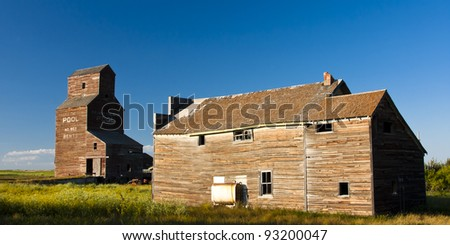 Vintage old-fashioned buildings abandoned in an old ghost town