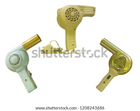 Vintage old hair dryer isolated over white background