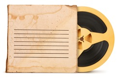 Vintage old magnetic audio tape reel with box isolated on white background
