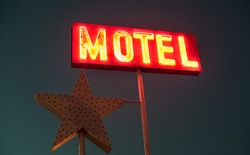 vintage old motel sign glowing in the night sky, vibrant vintage colours