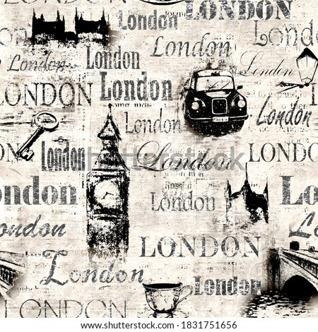 Vintage old newspaper paper London grunge collage sepia background. Seamless texture with hand drawn elements, lettering text London. Pattern for wrapping, wallpaper, textile, fabric.