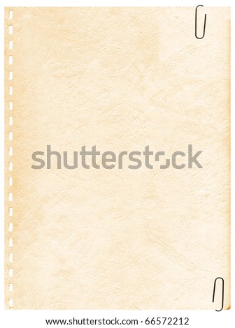 Vintage old page from a notebook with clip to background - stock photo