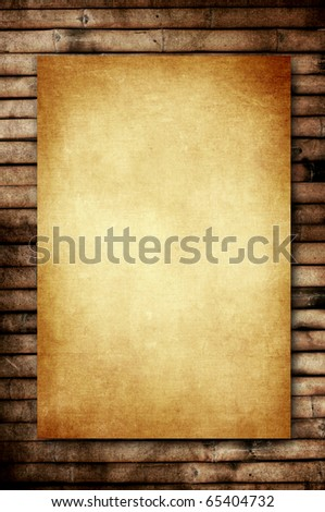 vintage old paper on old bamboo background for natural concept