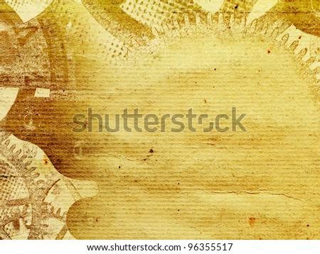 Vintage old paper retro background with ink-drawn cogwheels