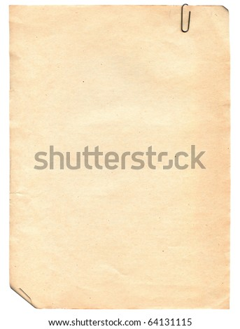 Vintage old paper texture with clip to background