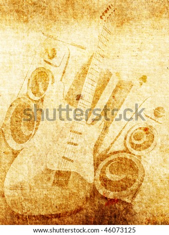 Vintage old paper with guitar and loudspeaker