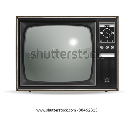 Vintage, old, photo-realistic CRT TV in vector