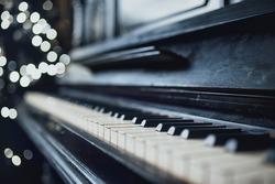 Vintage old piano. Close-up of keyboard keys