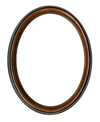Vintage old retro wooden oval frame isolated on white