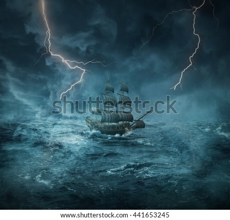 Vintage, old ship sailing lost in the ocean in a stormy night with lightnings in the sky. Adventure and journey concept