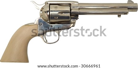vintage old silver western handgun with ivory handle isolated on white