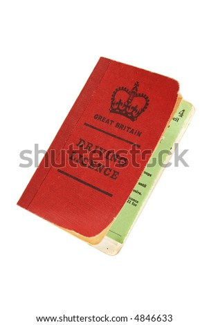 vintage old-style British licence isolated on white - clipping path