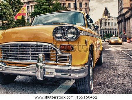 Vintage old Taxi in New York City. Classic Yellow Cab in Manhattan.