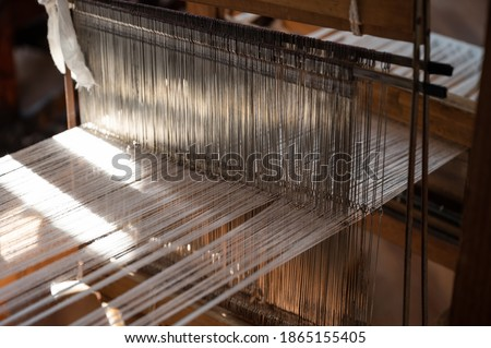 Vintage old traditional handcraft wooden weaving loom Photo stock ©