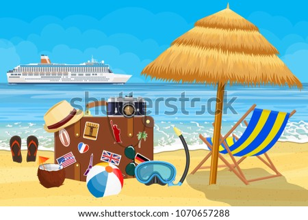 Vintage old travel suitcase on Paradise beach of the sea with cruise ship. Leather retro bag with stickers. wooden chaise lounge, umbrella. Vacation travel. illustration flat style Raster version.
