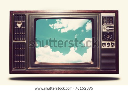 Vintage Old TV with sky view