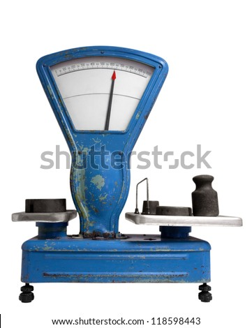 Vintage old weight scale. Clipping path included.