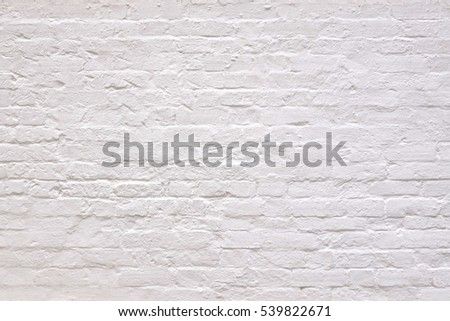 Vintage Old Whitewashed Brick Wall With Worn Surface Textured Background. Abstract White Backdrop Or Wallpaper #539822671