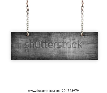 Vintage Old Wood sign isolated on white background. #204723979
