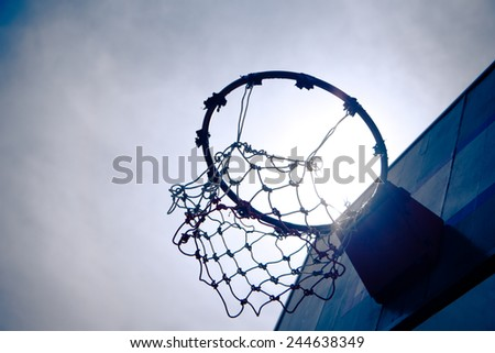 Vintage  Old Wooden basketball hoop under the sunset that mean hit the target