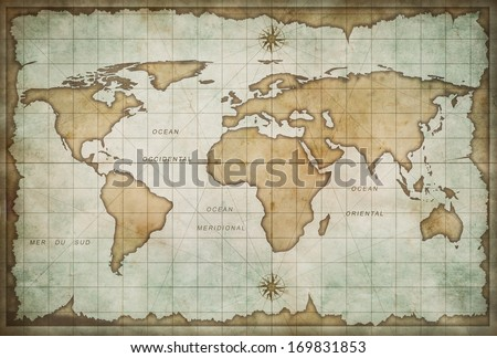 vintage old world map background #169831853