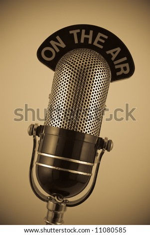 Vintage 'On the Air' Microphone in sepia.