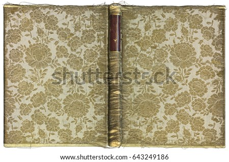 Vintage open book cover with floral pattern - beautiful fabric embroidered with gold thread - circa 1905 - XL size #643249186