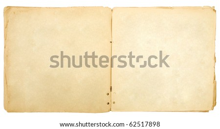 Vintage open book with soft shades on white background.