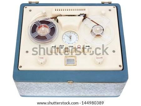 Vintage Open Reel Portable Tape Recorder in a case on white Background with clipping path