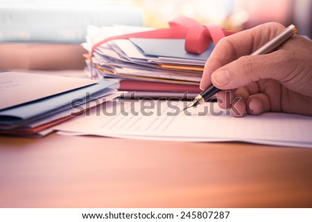 Vintage or retro style Hand with pen writing a letter by mail