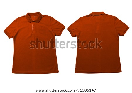 Vintage Orange color Polo Shirt with white background Men Front and back Polo Shirt